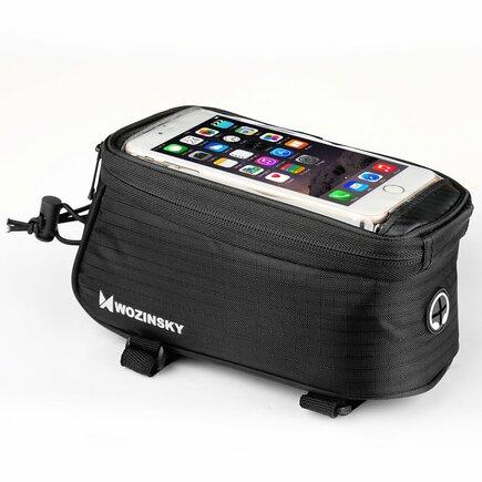 Cyklistická taška na rám kola - pouzdro na telefon 5,5 palců 1,5L černá (WBB2BK)
