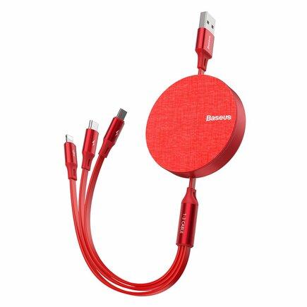 Fabric kabel 3v1 USB - micro USB / Lightning / USB-C 3.5A 35cm - 120cm červený (CAMLT-BY09)
