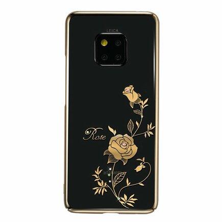 Flower Series pouzdro zdobené originálními krystaly Swarovski Huawei Mate 20 Pro růžově-zlaté