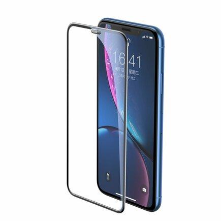 Full-screen tvrzené sklo 3D na celý displej s krytem na reproduktor Apple iPhone XR černé (SGAPIPH61-WA01)