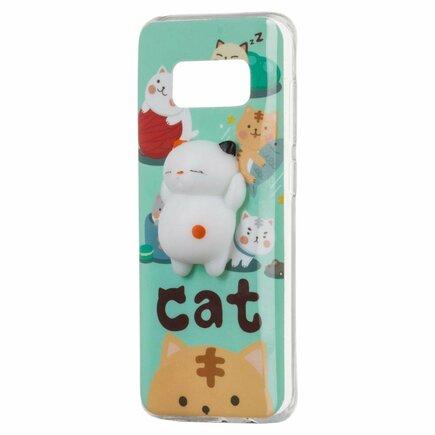 Gelové pouzdro Squishy animal gumová hračka 4D Samsung Galaxy A8 2018 A530 kočka