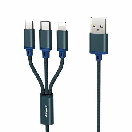 Gition RC-131th nylonový kabel 3v1 USB - micro USB / Lightning / USB-C 2.8A 1,15M modrý