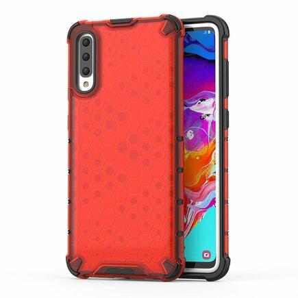 Honeycomb pancéřové pouzdro s gelovým rámem Samsung Galaxy A70 červené