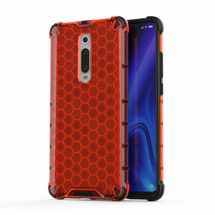 Honeycomb pancéřové pouzdro s gelovým rámem Xiaomi Mi 9T / Xiaomi Mi 9T Pro červené