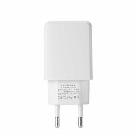 Linshy Pro Charger PD-A22 síťová nabíječka adaptér 2x USB 2.1A + kabel USB / Lightning 1M bílá (EU)