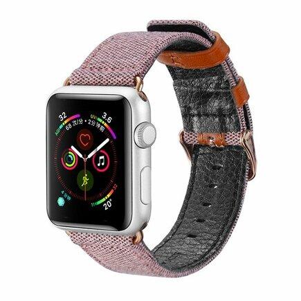 Litchi Grain Band pásek pro Watch 4 40mm / Watch 3 38mm / Watch 2 38mm / Watch 1 38mm růžový