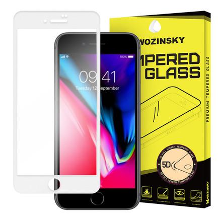 PRO+ super odolné tvrzené sklo 5D přes celý displej s rámem iPhone 8 Plus bílé