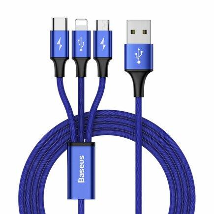 Rapid kabel 3v1 USB - micro USB / Lightning / USB-C v nylonovém opletení 3A 1,2M modrý (CAMLT-SU13)