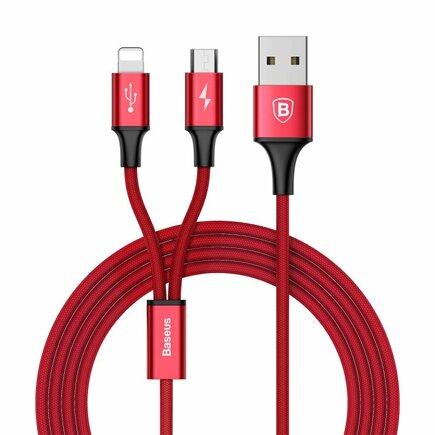 Rapid odolný nylonový kabel USB 2w1 Lightning / micro USB 3A 1.2m červený (CAML-SU09)