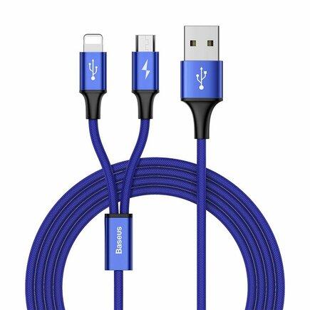 Rapid odolný nylonový kabel USB 2w1 Lightning / micro USB 3A 1.2m modrý (CAML-SU13)