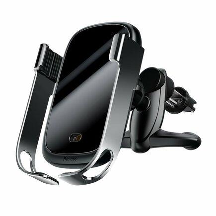 Rock elektricky uzamykatelný držák do auta s bezdrátovou nabíječkou Qi 10W a senzorem infračeerveného záření šedý (WXHW01-0S)