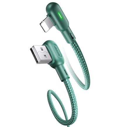 SJ455 U57 Kabel Lightning Braided Pravý úhel s osvětlením 1,2m zelený