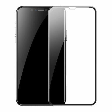 Sada 2x sklo na celý displej Full Screen s rámem 0.3mm 9H iPhone 11 Pro / iPhone XS / iPhone X + pozicionér černé (SGAPIPH58S-KC01)