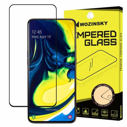 Super odolné tvrzené sklo Full Glue na celý displej s rámem Case Friendly Samsung Galaxy A80 černé