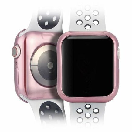 TPU Plating 2x gelové elastické pouzdro na Apple Watch 4 44mm růžové/průsvitné