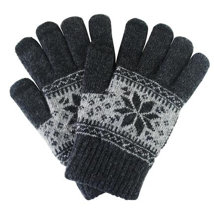 Univerzální rukavice pro dotykové displeje se zimním vzorkem šedé