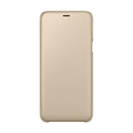 Wallet Cover pouzdro typu bookcase s kapsičkou pro kartu Samsung Galaxy A6 Plus (2018) A605 zlaté (EF-WA605CFEGWW)