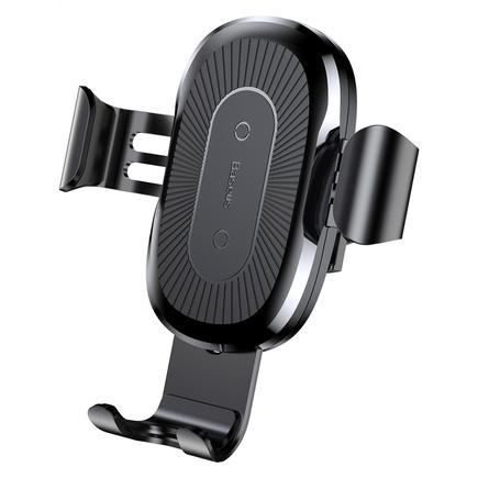 Wireless Charger Gravity držák do auta na ventilační mřížku + bezdrátová nabíječka Qi černý