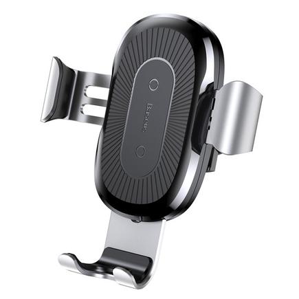 Wireless Charger Gravity držák do auta na ventilační mřížku + bezdrátová nabíječka Qi stříbrný