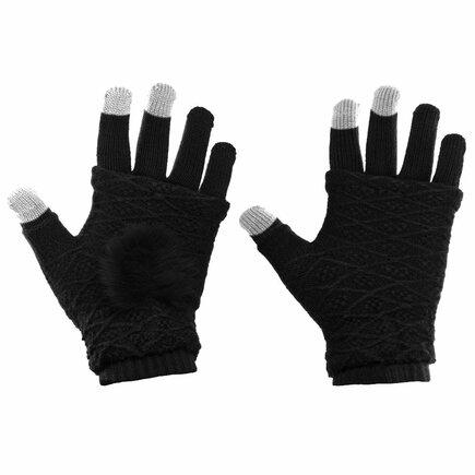 Zimní dámské rukavice pro dotykové displeje 2v1 se zateplením na dlaních černé