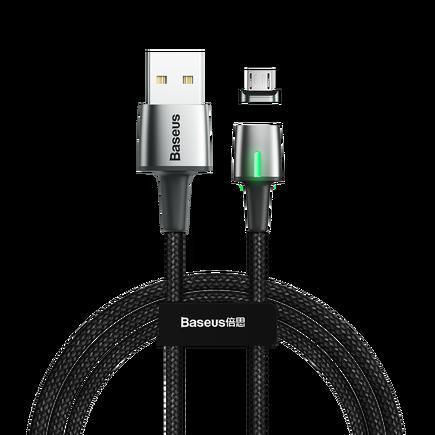 Zinc magnetický kabel USB / micro USB 1m 2.4A černý