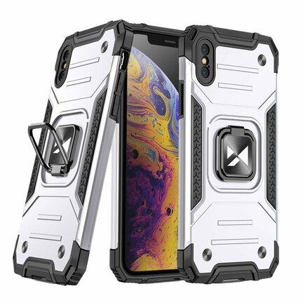 Wozinsky Ring Armor pancéřové hybridní pouzdro + magnetický úchyt iPhone XS / iPhone X stříbrné