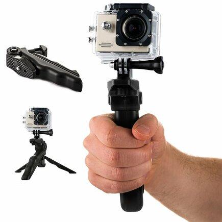 Úchyt s mini stativem pro sportovní kamery GoPro SJCAM černý