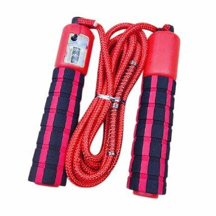 Švihadlo s počítadlem skoků pro fitness crossfit červené