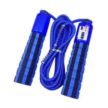 Švihadlo s počítadlem skoků pro fitness crossfit modré