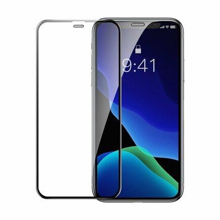 2x sklo na celý displej s rámem Full Screen 0.3mm 9H iPhone 11 Pro Max / iPhone XS Max + pozicionér černé (SGAPIPH65-WD01)