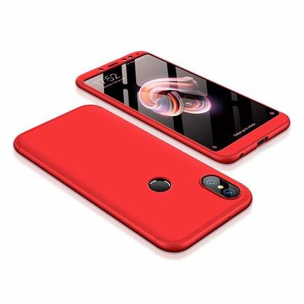 360 Protection Case pouzdro na přední i zadní část telefonu Xiaomi Redmi Note 5 (dual camera) / Redmi Note 5 Pro červené