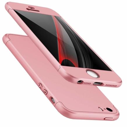 360 Protection Case pouzdro na přední i zadní část telefonu iPhone SE / 5S / 5 růžové