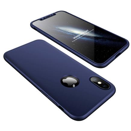 360 Protection Case pouzdro na přední i zadní část telefonu iPhone XS / X tmavě modré