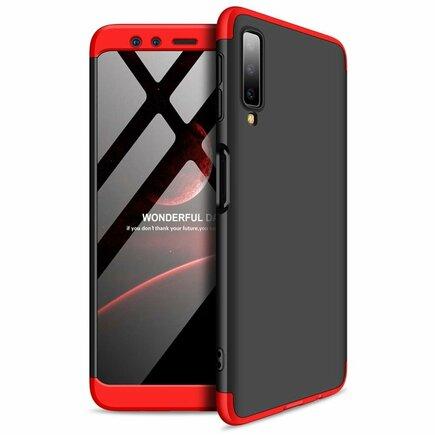 360 Protection pouzdro na přední i zadní část telefonu Samsung Galaxy A7 2018 A750 černo-červené