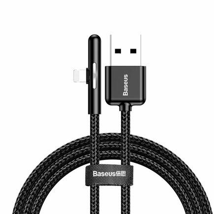 Baseus úhlový nylonový kabel USB Lightning pro hráče 2.4A 1m černý (CAL7C-A01)