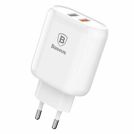 Bojure síťová nabíječka EU adaptér pro telefon 2x USB 1A Quick Charge 3.0 QC 3.0 18W bílá (CCALL-AG02)