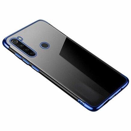 Clear Color case gelové pouzdro s metalickým rámem Motorola G8 Plus modré
