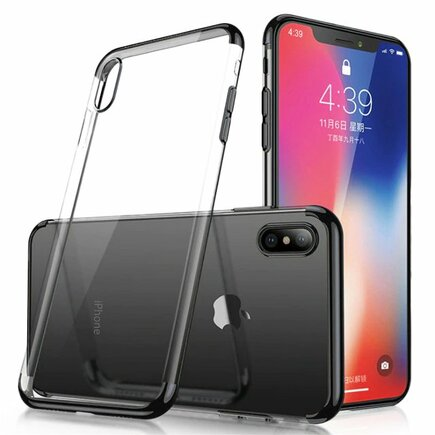 Clear Color case gelové pouzdro s metalickým rámem Samsung Galaxy A50 černé