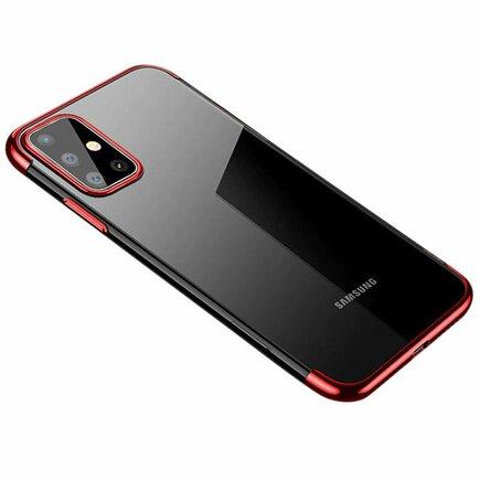 Clear Color case gelové pouzdro s metalickým rámem Samsung Galaxy A71 červené