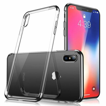 Clear Color case gelové pouzdro s metalickým rámem iPhone XS / iPhone X černé