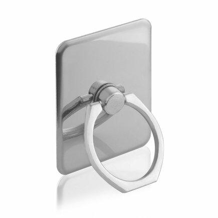 Držák pro telefon ring s podstavcem ve tvaru prstýnku stříbrný