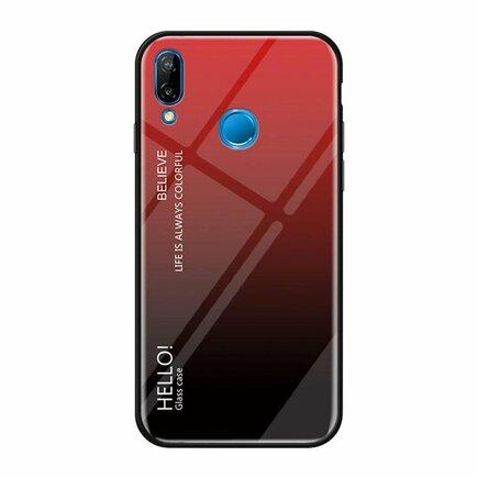 Gradient Glass pouzdro s vrstvou z tvrzeného skla Huawei P20 Lite černo-červené