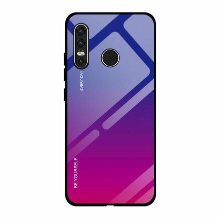Gradient Glass pouzdro s vrstvou z tvrzeného skla Huawei P30 Lite růžově-fialové