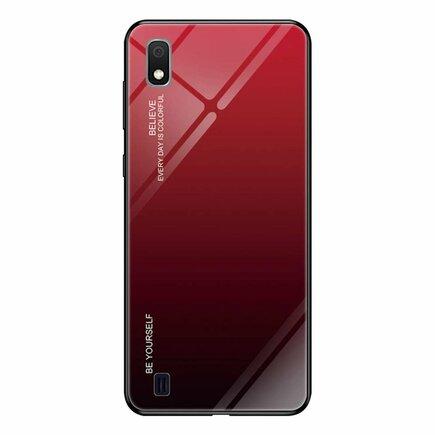 Gradient Glass pouzdro s vrstvou z tvrzeného skla Samsung Galaxy A10 černo-červené