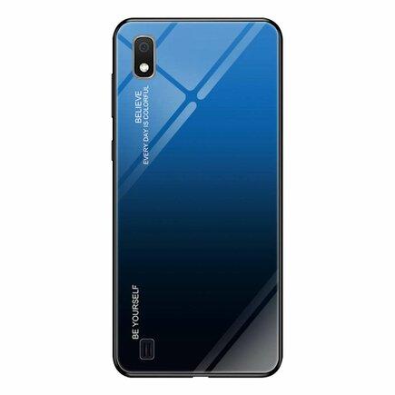Gradient Glass pouzdro s vrstvou z tvrzeného skla Samsung Galaxy A10 černo-modré