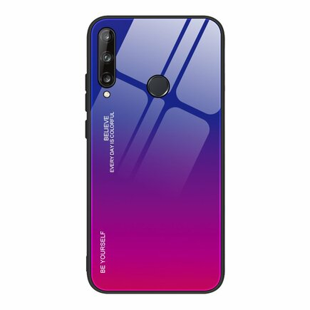 Gradient Glass pouzdro z tvrzeného skla Huawei P40 Lite E růžově/fialové