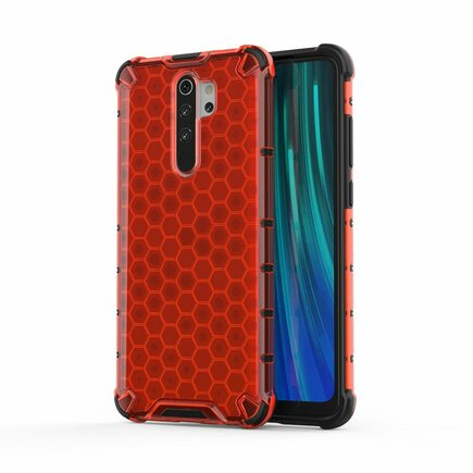 Honeycomb pancéřové pouzdro s gelovým rámem Xiaomi Redmi Note 8 Pro červené