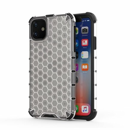 Honeycomb pancéřové pouzdro s gelovým rámem iPhone 11 průsvitné