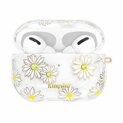 Kingxbar Spring pouzdro s krystalky Swarovski pro sluchátka AirPods Pro průsvitné Daisy