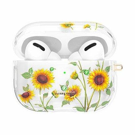Kingxbar Spring pouzdro s krystalky Swarovski pro sluchátka AirPods Pro průsvitné Sunflowers